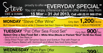 Steve Café & Cuisine Everyday Special Promotion